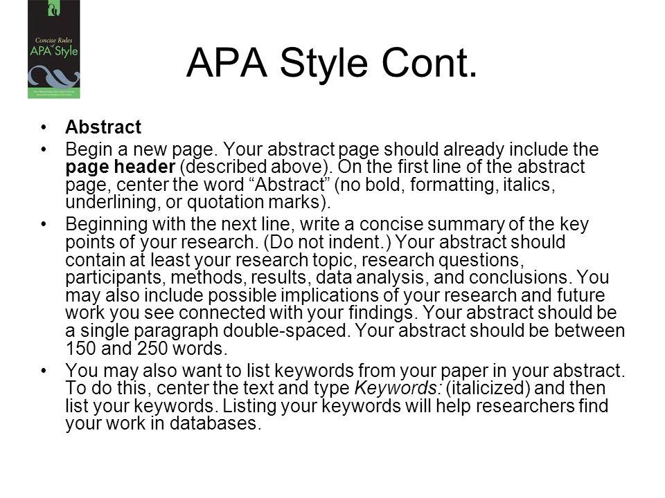 apa style abstract