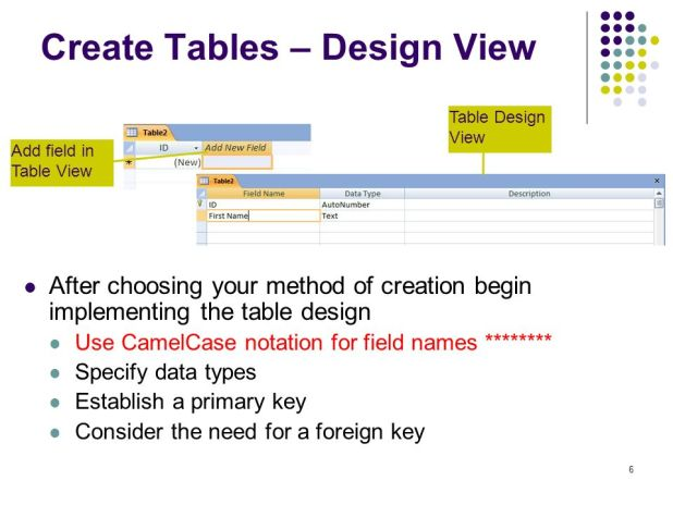 how to create table relationships in access