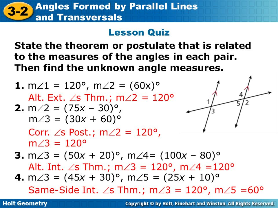 Angles Formed By Parallel Lines And Transversals Ppt Video