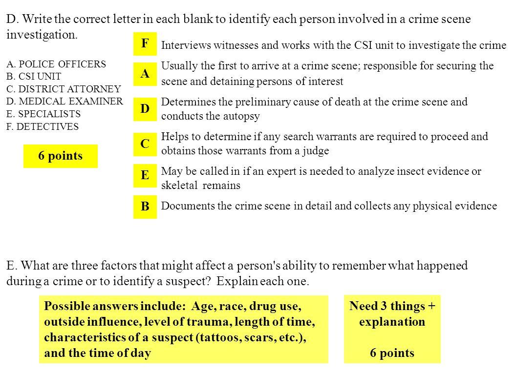 Unit 1 Review Crime Scene Basics Amp Eyewitness Basics