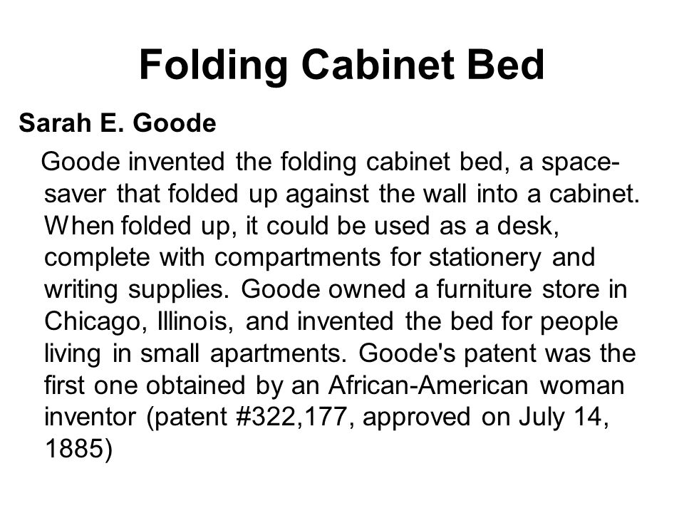 How Did Sarah E Goode Invented The Cabinet Bed | memsaheb.net
