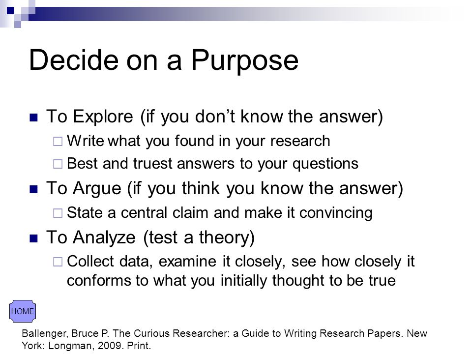 Research Project Ballenger Bruce P The Curious Researcher A Guide