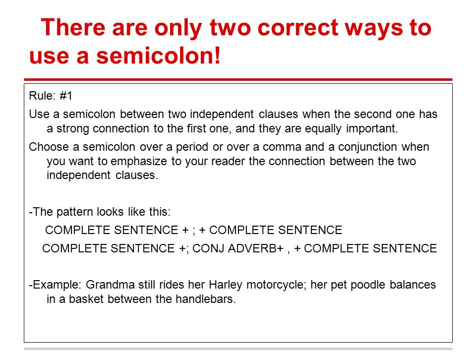 Strong Use Semicolon Examples