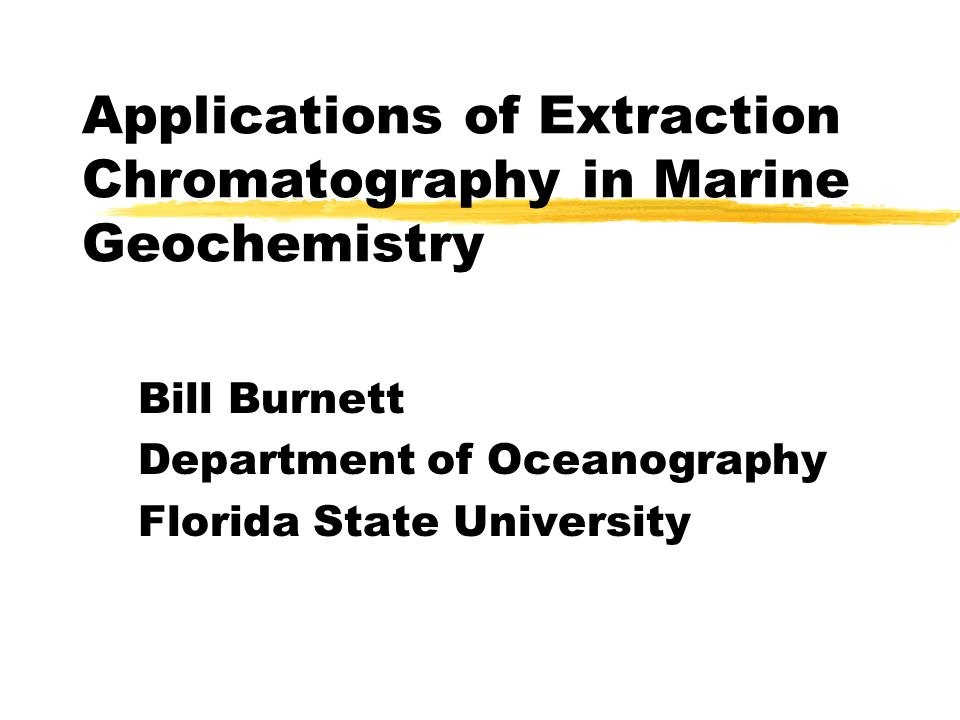 Applications of Extraction Chromatography in Marine