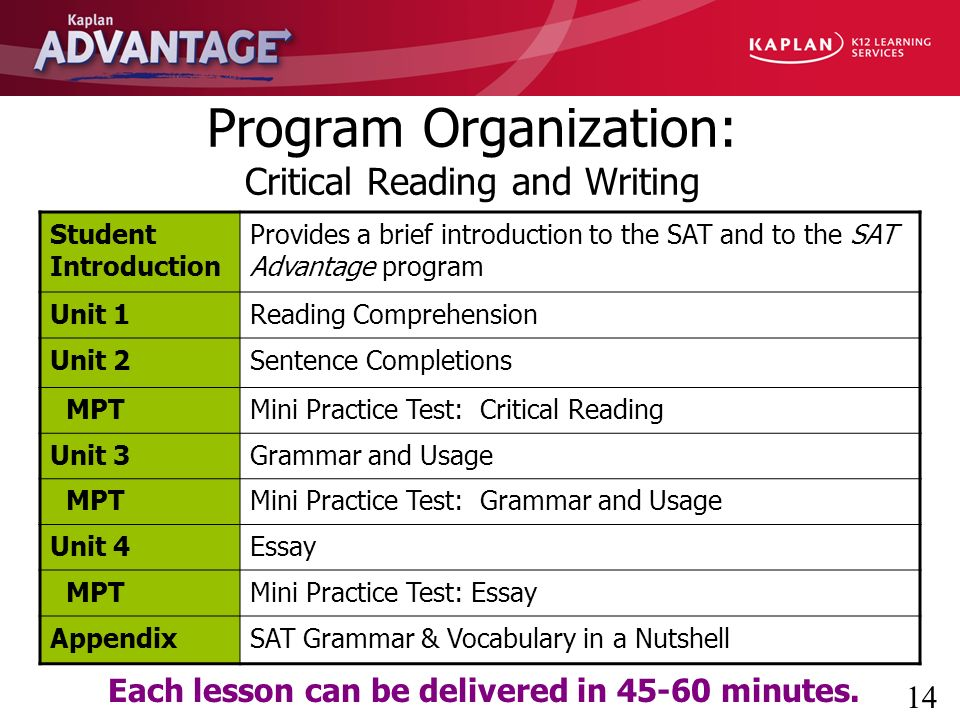 Kaplan Advantage Sat Critical Reading And Writing  Ppt Download