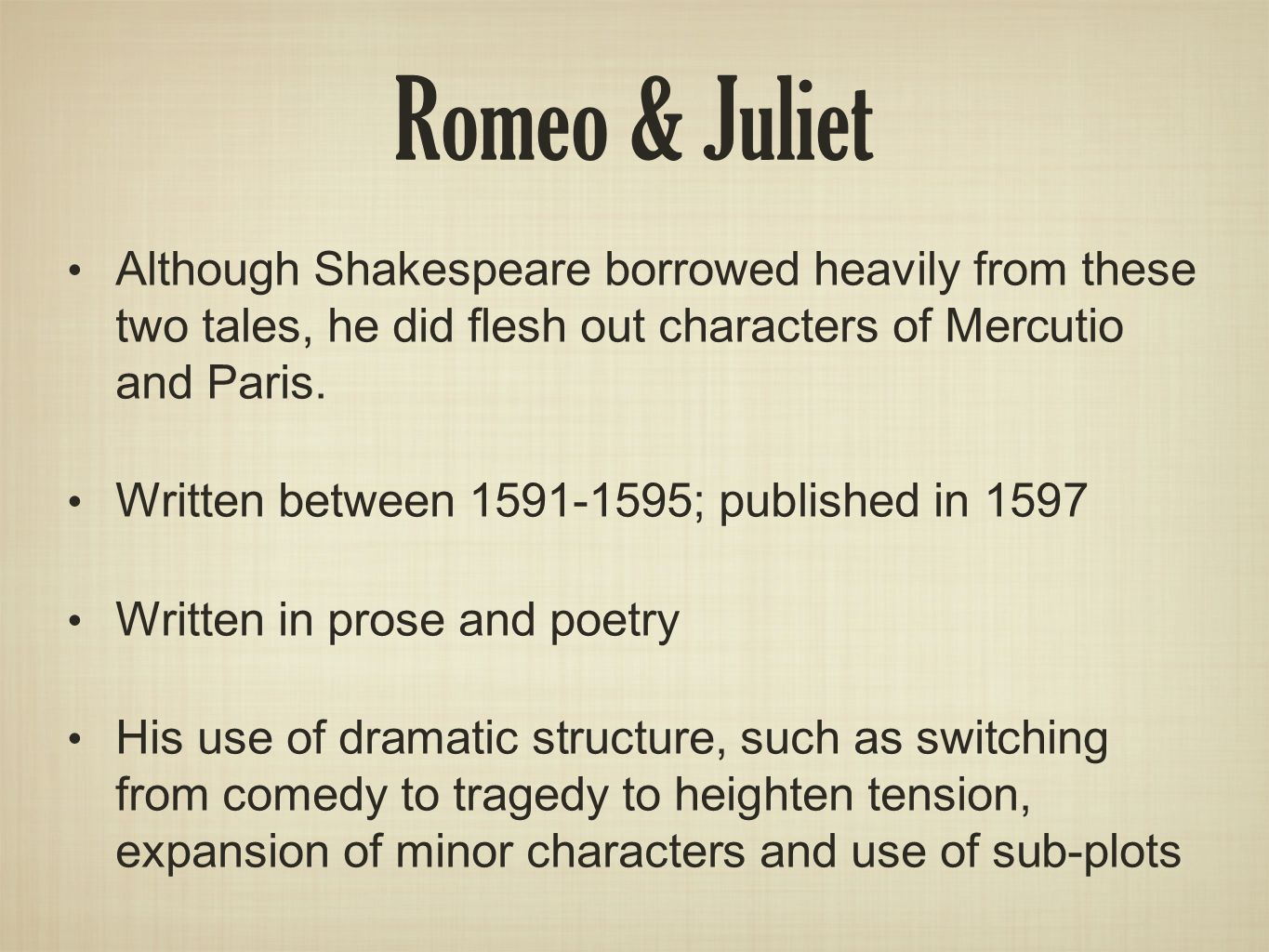 Background Of William Shakespeare And Romeo & Juliet Ppt