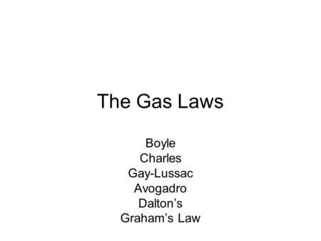 The Gas Laws ppt video online download