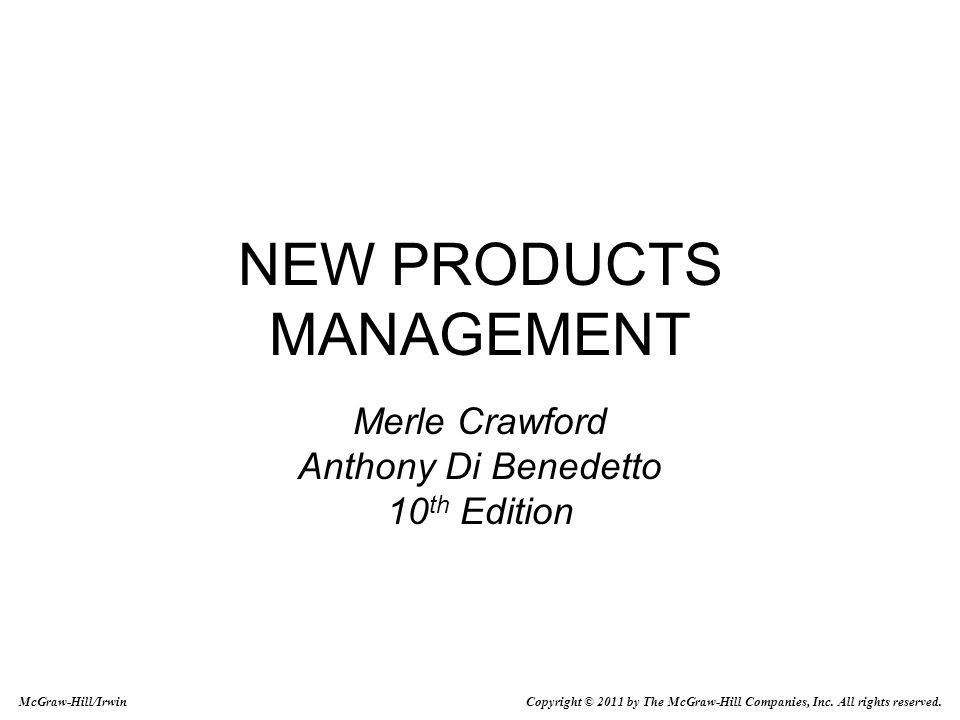 NEW PRODUCTS MANAGEMENT Merle Crawford Anthony Di