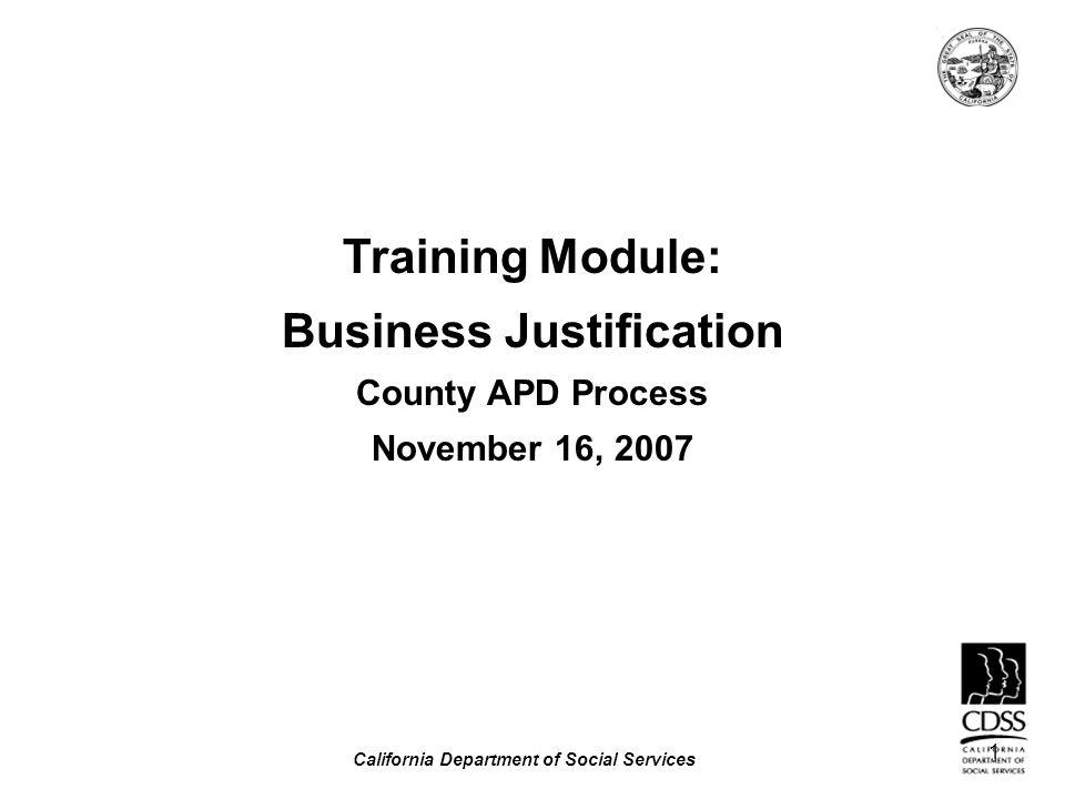 Business Justification California Department of Social