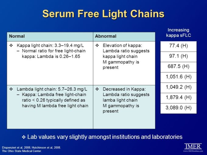 Kappa Lambda Light Chains Free Ratio Quantitative Serum