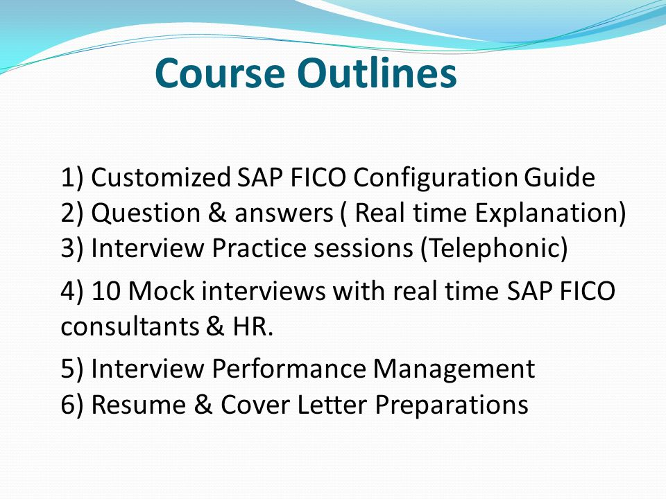 Course Outlines 1 Customized SAP FICO Configuration Guide