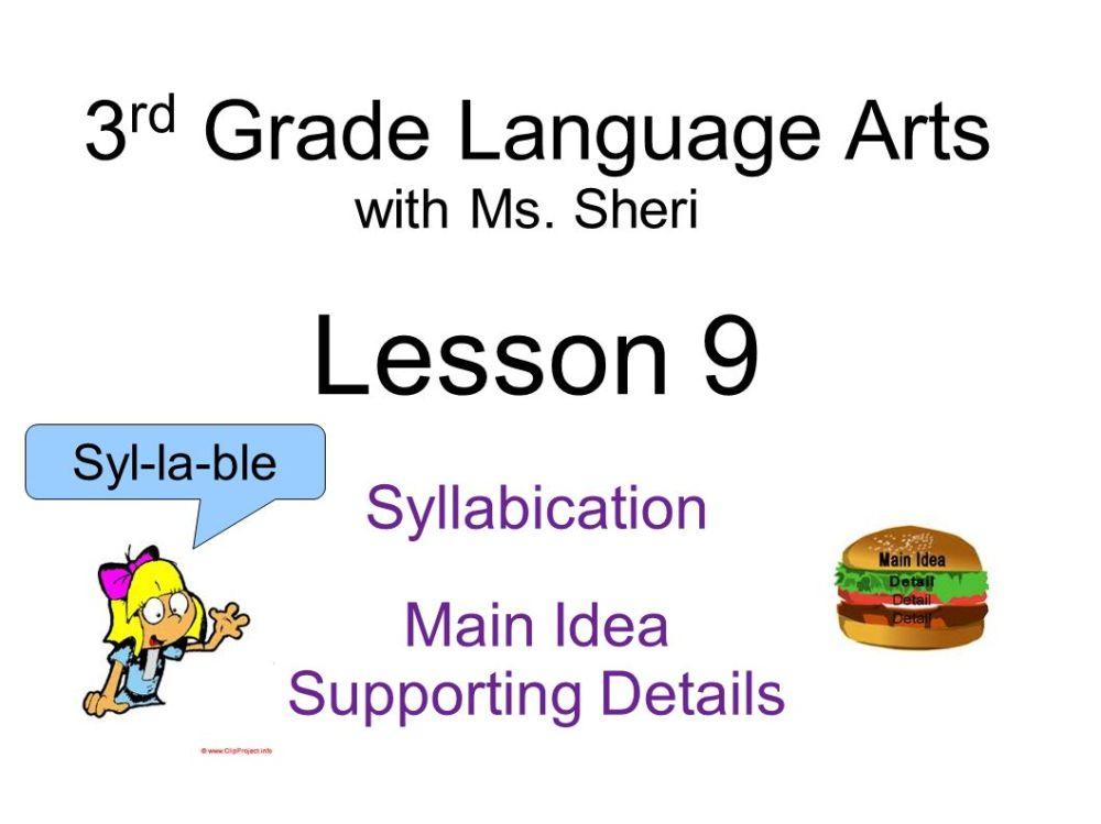 medium resolution of Lesson 9 3rd Grade Language Arts Syllabication Main Idea - ppt video online  download