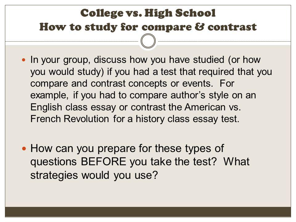 compare contrast essay example high school