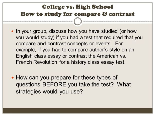 compare and contrast essay college vs high school  mistyhamel comparison and contrast essay about high school college