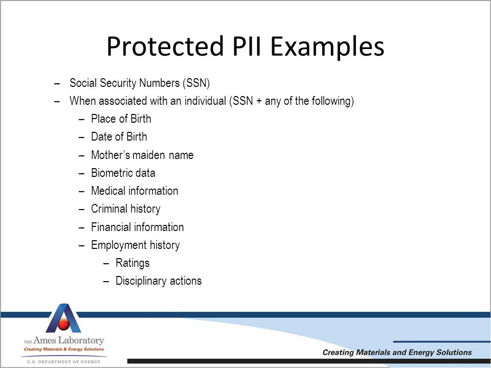 Ames Laboratory Privacy and Personally Identifiable