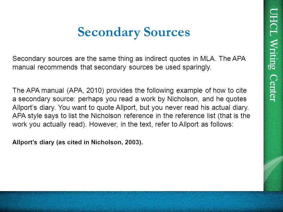 how to cite secondary sources apa