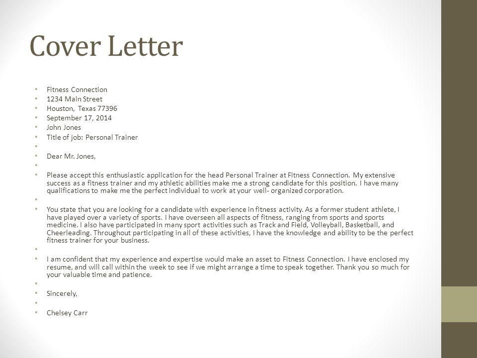 fitness personal trainer cover letter node2001cvresume