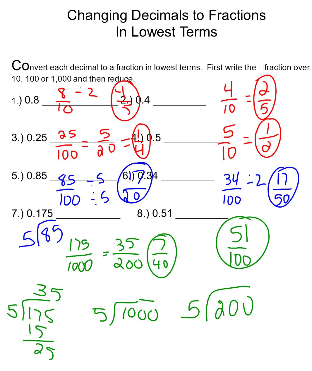 Fractions Into Decimals Worksheet