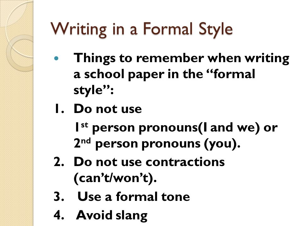 Writing in a Formal Style  ppt video online download