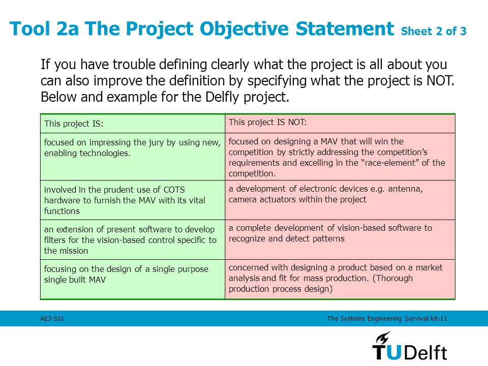 project objective statement example