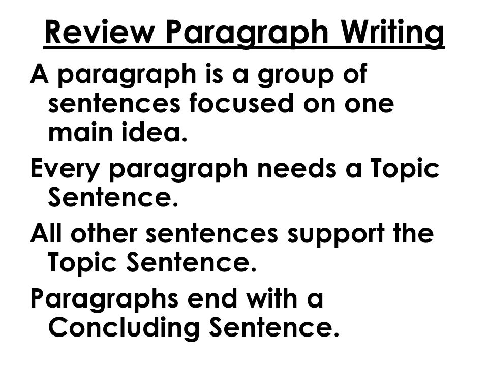Miss McCoy Lesson #13 Paragraph Writing, The Story of