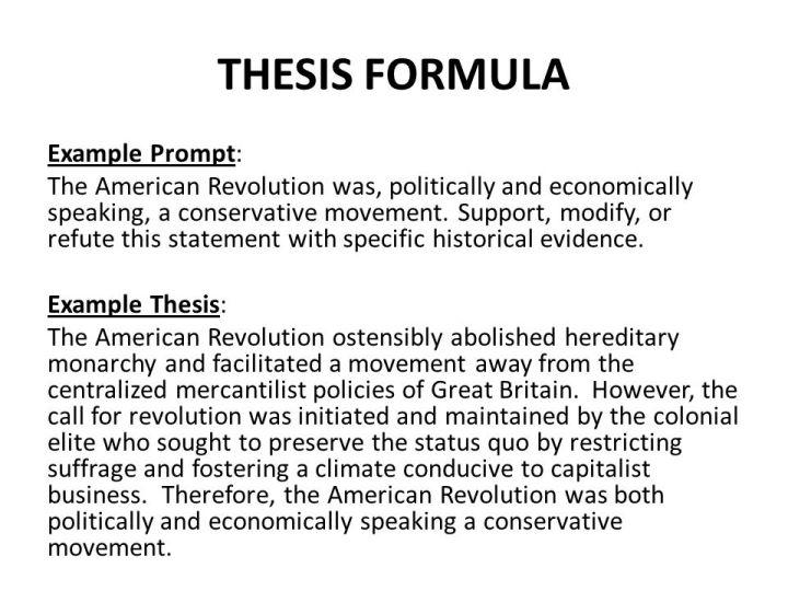 American revolution essay thesis
