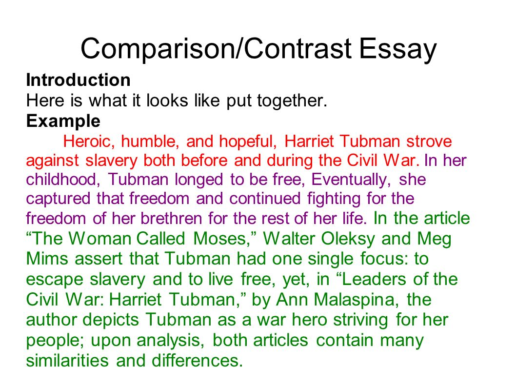 Example Of An Essay Introduction Compare And Contrast