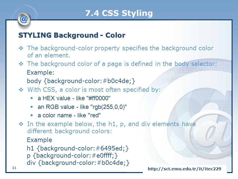 Css Styling Background Color