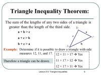 Triangle Inequalities Worksheet - Geersc