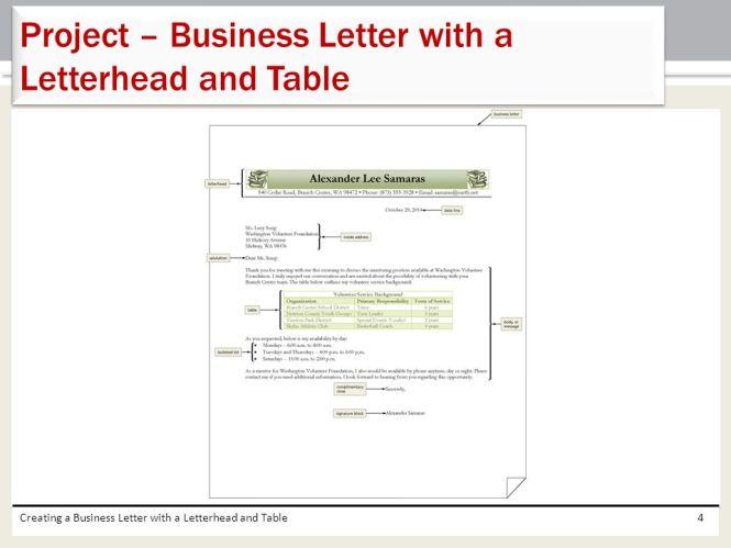 proper business letterhead