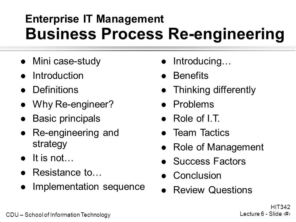 Enterprise IT Management Business Process Re-engineering