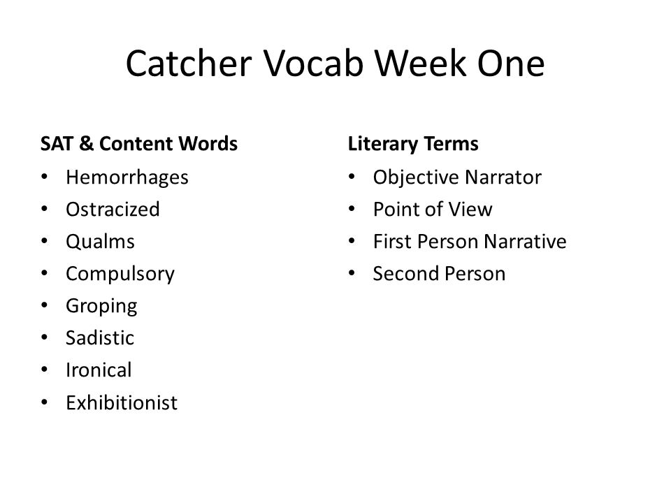 Catcher Vocab Week One SAT & Content Words Literary Terms