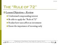 The Rule of 72 Lesson Objectives: Understand compounding ...