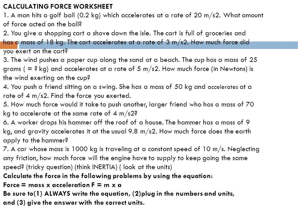 Gravity And Acceleration Worksheet Answers
