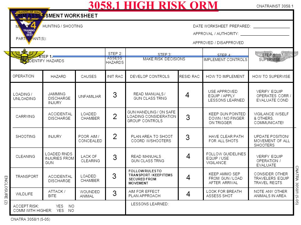 usmc orm template - army range risk assessment example