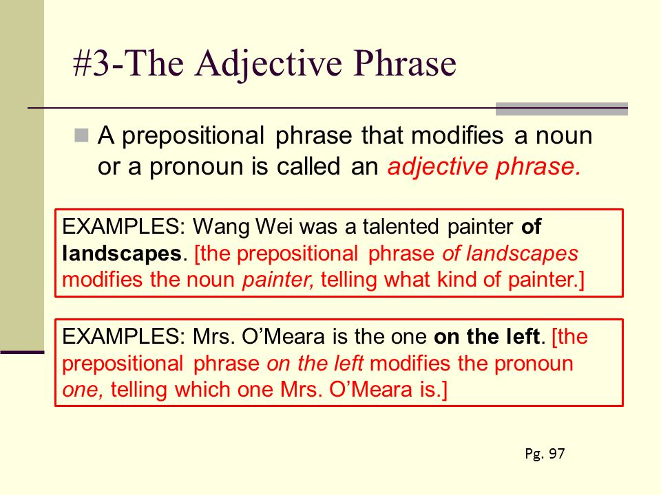 Adjectival Phrases Worksheets