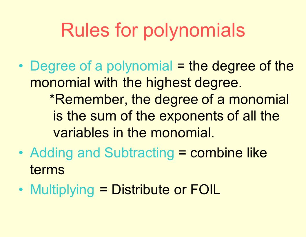 Degree Of Polynomial Worksheet