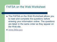 Fafsa On The Web Worksheet. Worksheets. Ratchasima ...