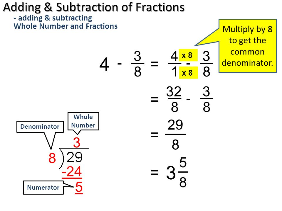 Subtracting Whole Number And Fraction
