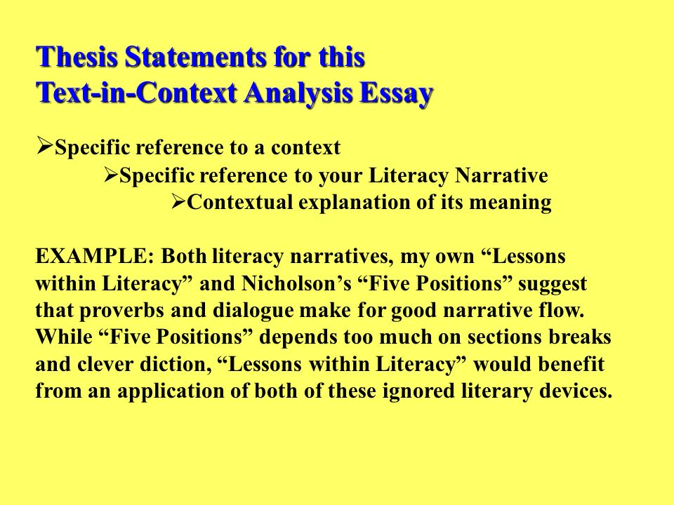 Thesis Statements for this TextinContext Analysis Essay
