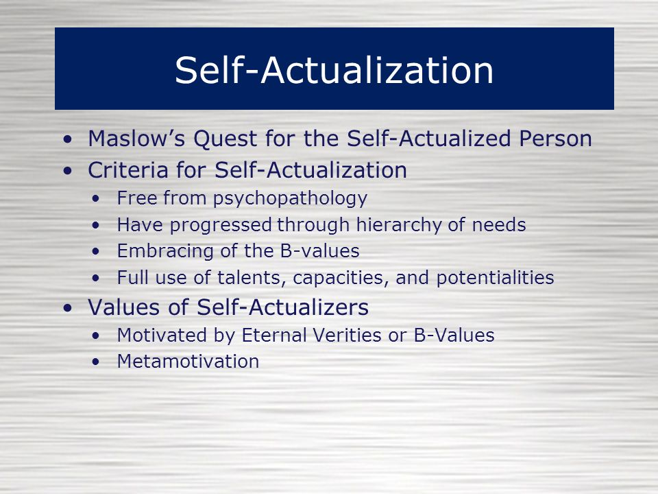 example of a self actualized person