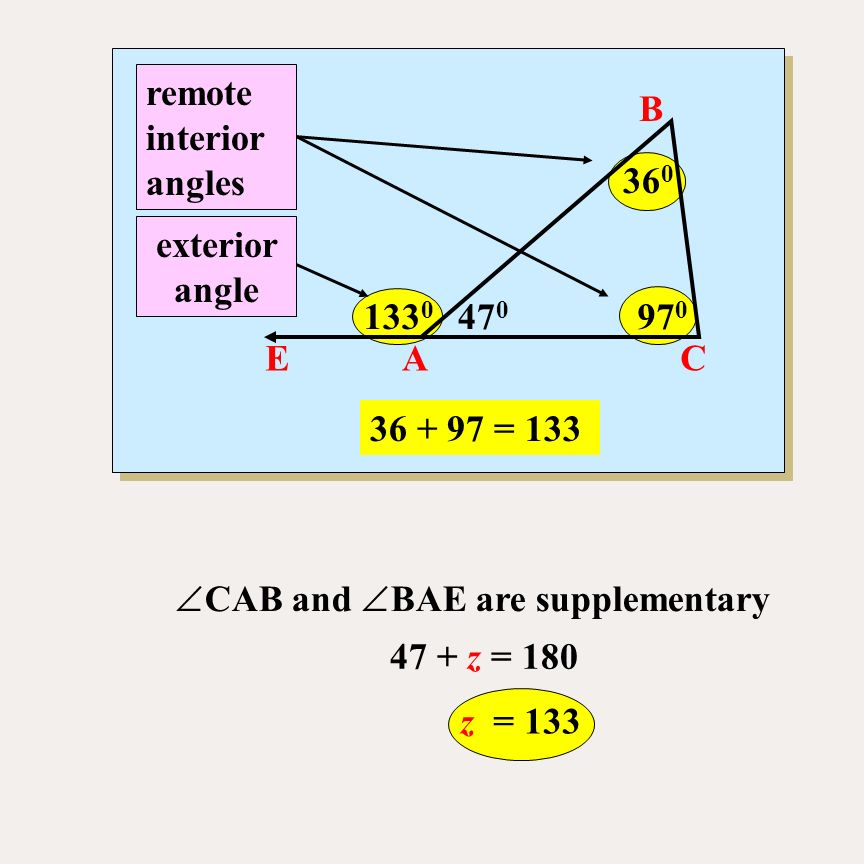 The sum of the measure of the angles of a triangle is ppt