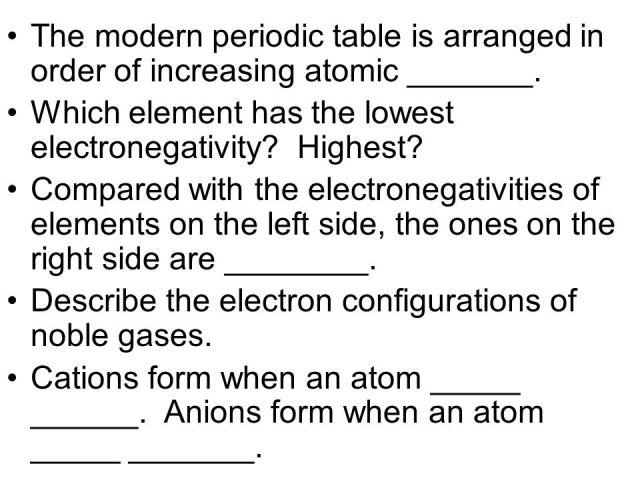 Modern periodic table arranged order increasing atomic choice the modern periodic table is arranged in order of increasing 4 the modern periodic table is urtaz Gallery