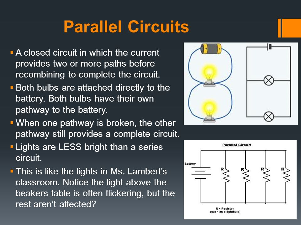 Parallel Circuits Differences Further Wiring Lights Parallel Diagram