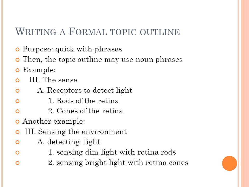 Writing A Formal Outline Ppt Video Online Download