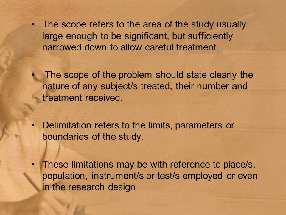 Scope And Delimitation Of The Study In Research Paper Homework