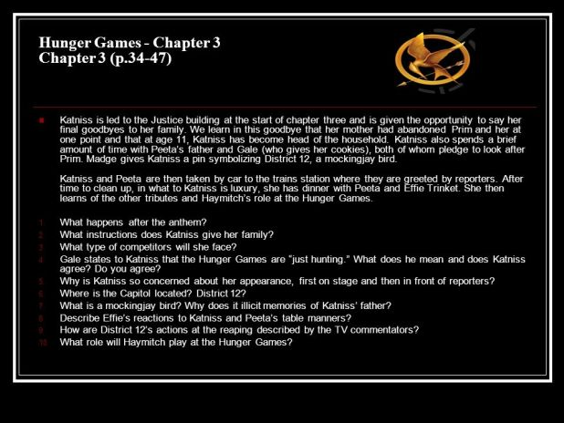 hunger games chapter summaries The hunger games summary & study guide includes detailed chapter summaries and analysis, quotes, character descriptions, themes, and more.