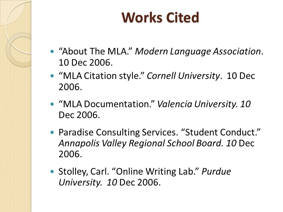works cited in mla