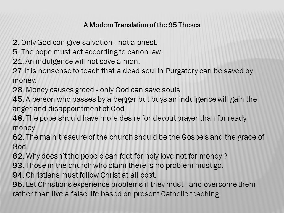 Translation 95 Theses Modern