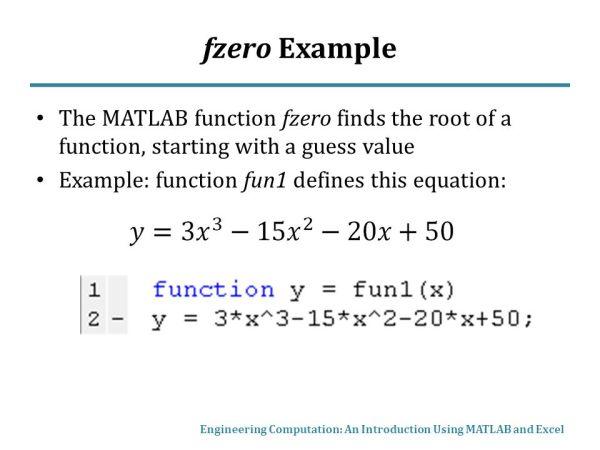 Fzero Function Matlab - MVlC